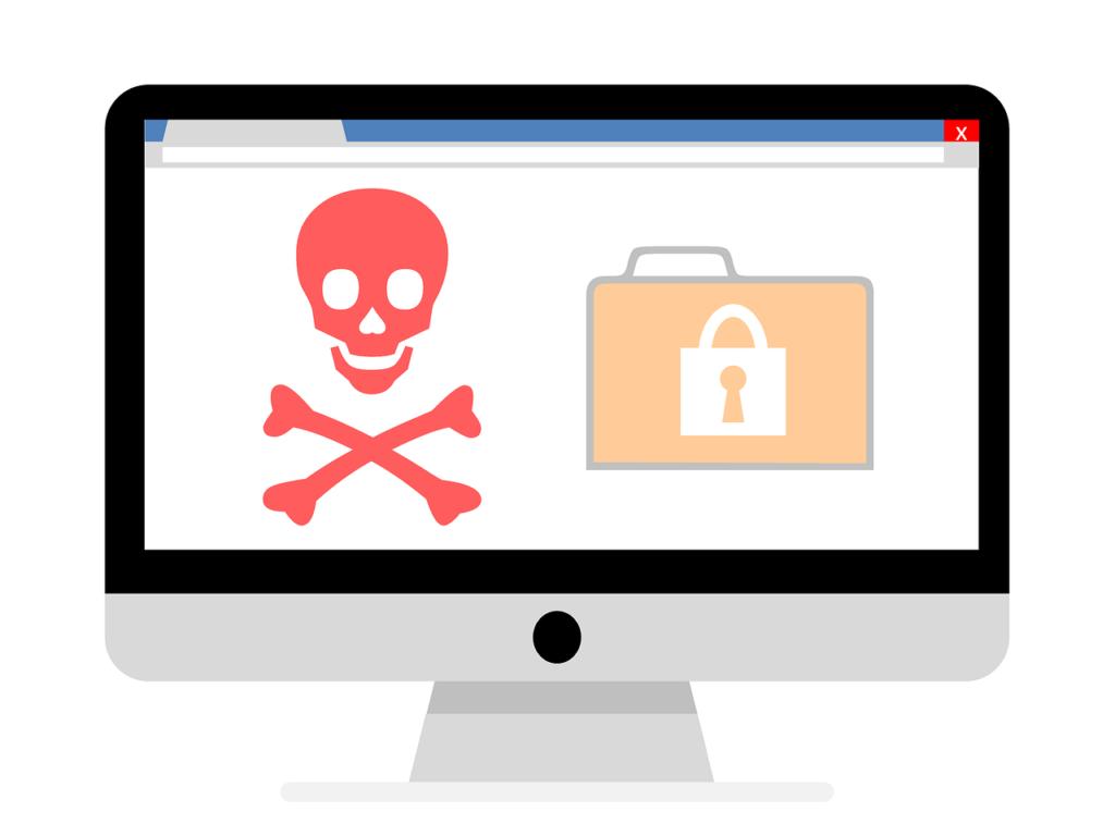 Site piraté, tête de mort et dossier verrouillé