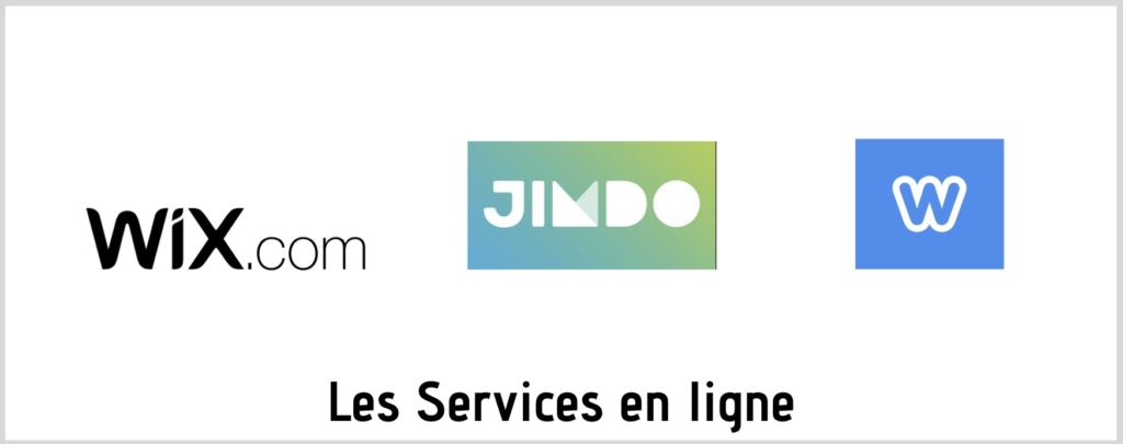 White Flute Webmaster - Logos des services en ligne Wix Weebly et Jimdo