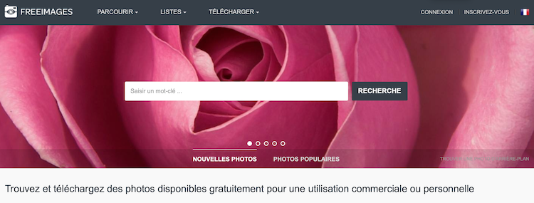 Page d'accueil du site freeimages.com banque d'images gratuites et libres de droit