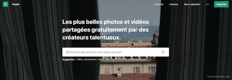 Page d'accueil du site pexels.com banque d'images gratuites et libres de droit