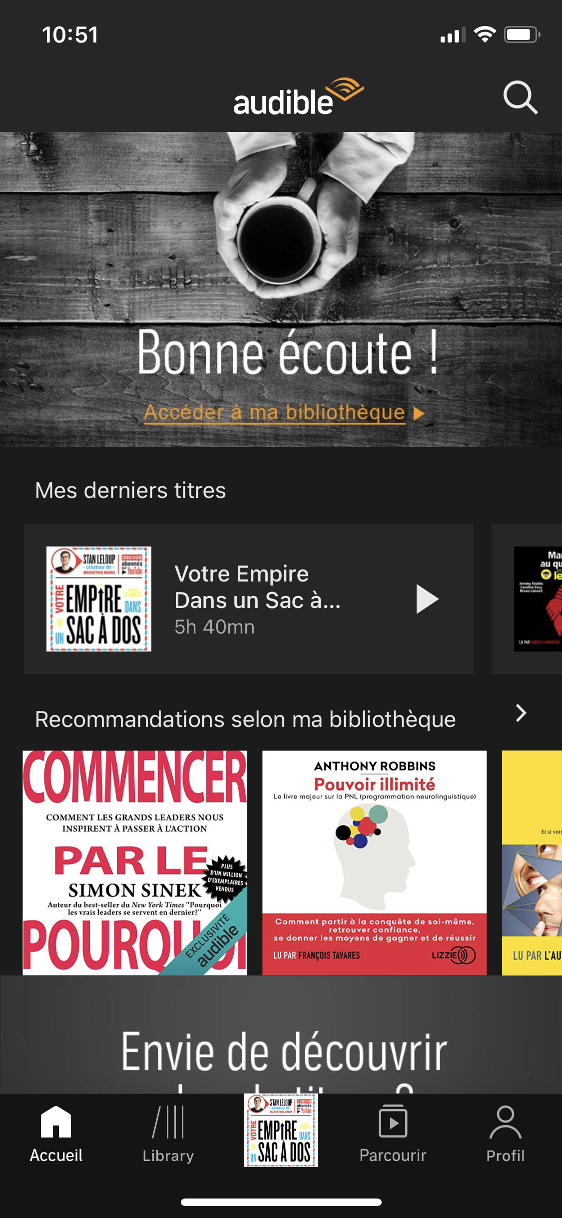 Capture d'écran accueil application audible